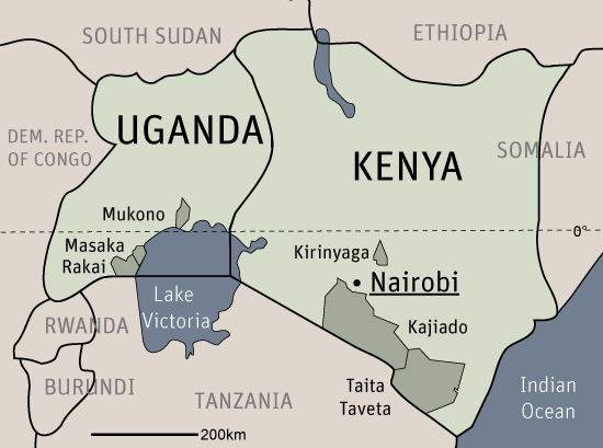 The map of Kenya and Uganda with the marked project areas